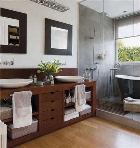 Trucos y consejos para conseguir un ba o compartido pr ctico - Banera y ducha ...