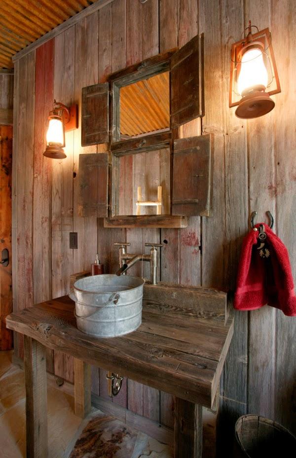 Lamparas Ideales Para Baño:Baño de Estilo Rústico