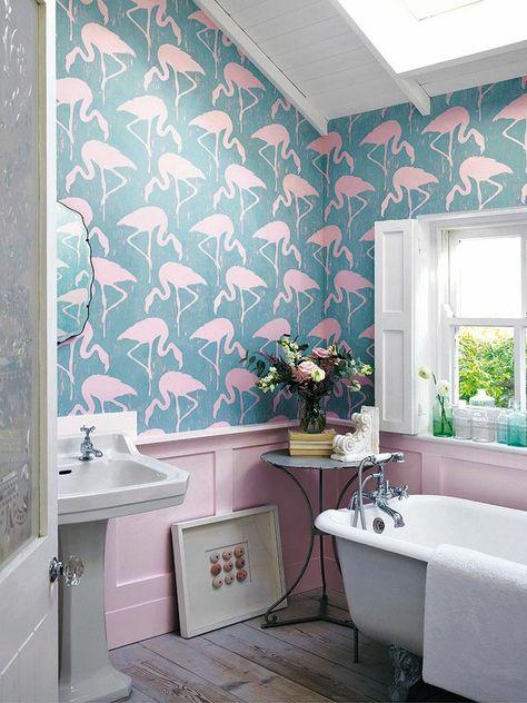 El papel pintado como herramienta decorativa en el cuarto for Papel pintado flamencos