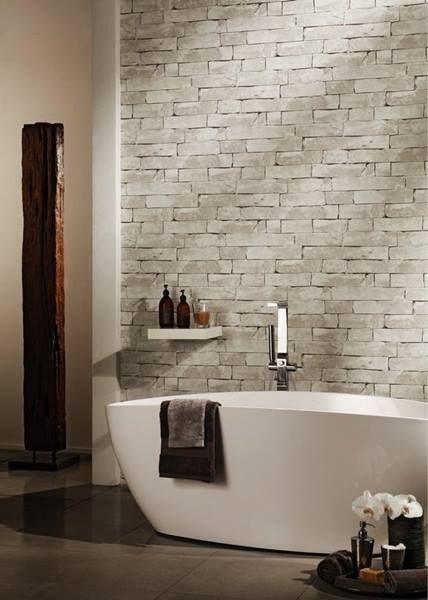 El papel pintado como herramienta decorativa en el cuarto for Papel imitacion piedra