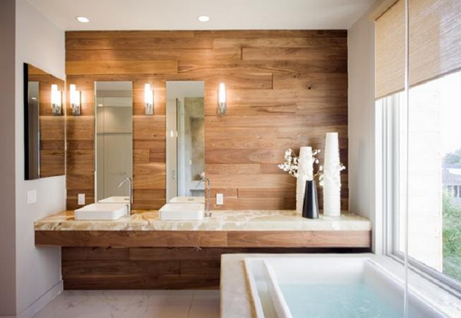 Pierde el miedo a utilizar madera en tu cuarto de ba o - Paredes de banos ...