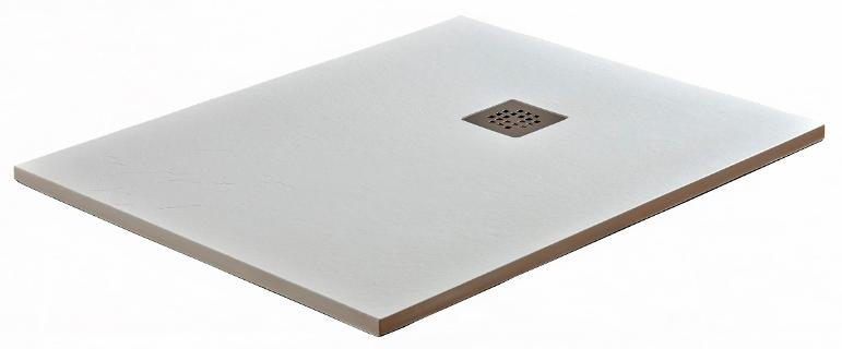 plato de ducha de resina y carga mineral textura pizarra en color blanco