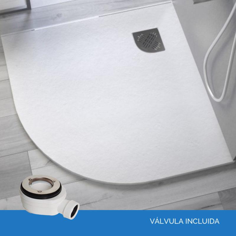 plato de ducha semicircular valvula incluida