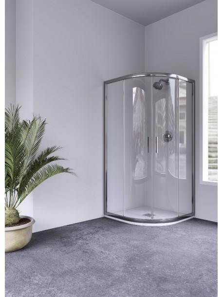 Mampara de ducha semicircular 2 hojas correderas y 2 hojas for Mamparas de ducha fijas