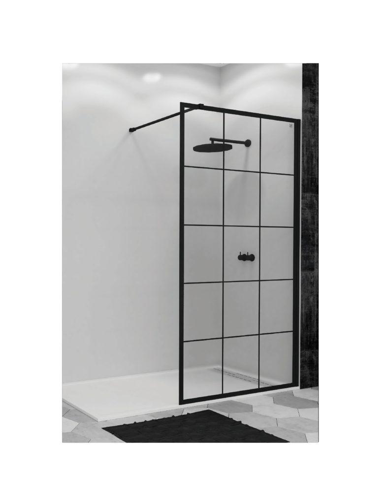 Mampara de ducha perfil negro cristal templado for Perfil vierteaguas mampara
